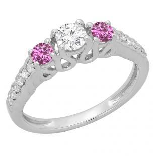 0.75 Carat (ctw) 10K White Gold Round Cut Pink Sapphire & White Diamond Ladies Bridal 3 Stone Engagement Ring 3/4 CT