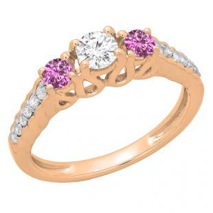 0.75 Carat (ctw) 14K Rose Gold Round Cut Pink Sapphire & White Diamond Ladies Bridal 3 Stone Engagement Ring 3/4 CT