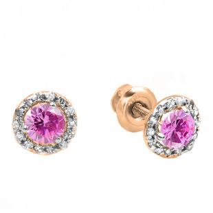 0.35 Carat (ctw) 10k Rose Gold Round Pink Sapphire & White Diamond Halo Stud Earrings
