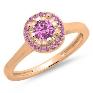0.50 Carat (ctw) 18K Rose Gold Round Pink Sapphire Ladies Bridal Halo Style Engagement Ring 1/2 CT
