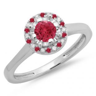 0.50 Carat (ctw) 18K White Gold Round Ruby & White Diamond Ladies Bridal Halo Style Engagement Ring 1/2 CT