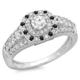 1.00 Carat (ctw) 10K White Gold Round Cut Black & White Diamond Ladies Vintage Style Bridal Halo Engagement Ring 1 CT