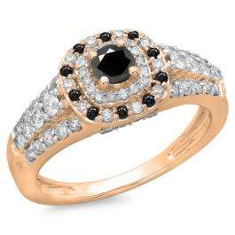 1.00 Carat (ctw) 14K Rose Gold Round Cut Black & White Diamond Ladies Vintage Style Bridal Halo Engagement Ring 1 CT