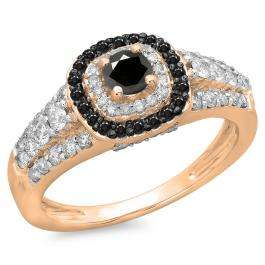 1.00 Carat (ctw) 10K Rose Gold Round Cut Black & White Diamond Ladies Vintage Style Bridal Halo Engagement Ring 1 CT