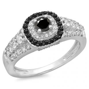 1.00 Carat (ctw) 10K White Gold Round Cut Black & White Diamond Ladies Vintage Style Bridal Halo Engagement Ring 1 CT