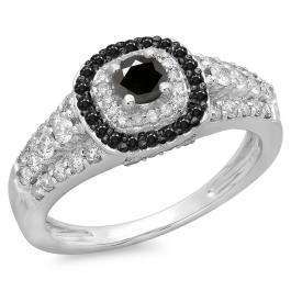 1.00 Carat (ctw) 18K White Gold Round Cut Black & White Diamond Ladies Vintage Style Bridal Halo Engagement Ring 1 CT