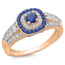 1.00 Carat (ctw) 18K Rose Gold Round Cut Blue Sapphire & White Diamond Ladies Vintage Style Bridal Halo Engagement Ring 1 CT