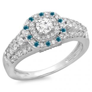 1.00 Carat (ctw) 14K White Gold Round Cut Blue & White Diamond Ladies Vintage Style Bridal Halo Engagement Ring 1 CT