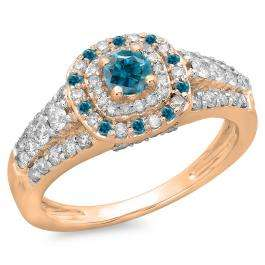 1.00 Carat (ctw) 14K Rose Gold Round Cut Blue & White Diamond Ladies Vintage Style Bridal Halo Engagement Ring 1 CT
