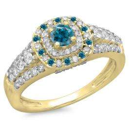 1.00 Carat (ctw) 14K Yellow Gold Round Cut Blue & White Diamond Ladies Vintage Style Bridal Halo Engagement Ring 1 CT