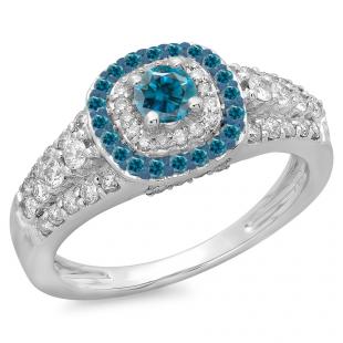 1.00 Carat (ctw) 18K White Gold Round Cut Blue & White Diamond Ladies Vintage Style Bridal Halo Engagement Ring 1 CT