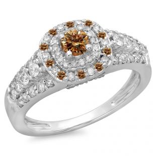1.00 Carat (ctw) 14K White Gold Round Cut Champagne & White Diamond Ladies Vintage Style Bridal Halo Engagement Ring 1 CT