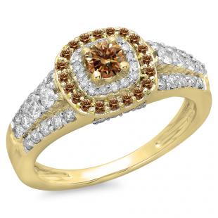 1.00 Carat (ctw) 14K Yellow Gold Round Cut Champagne & White Diamond Ladies Vintage Style Bridal Halo Engagement Ring 1 CT