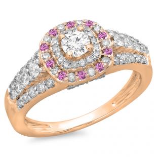 1.00 Carat (ctw) 14K Rose Gold Round Cut Pink Sapphire & White Diamond Ladies Vintage Style Bridal Halo Engagement Ring 1 CT
