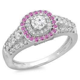 1.00 Carat (ctw) 14K White Gold Round Cut Pink Sapphire & White Diamond Ladies Vintage Style Bridal Halo Engagement Ring 1 CT