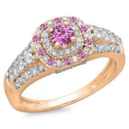 1.00 Carat (ctw) 10K Rose Gold Round Cut Pink Sapphire & White Diamond Ladies Vintage Style Bridal Halo Engagement Ring 1 CT