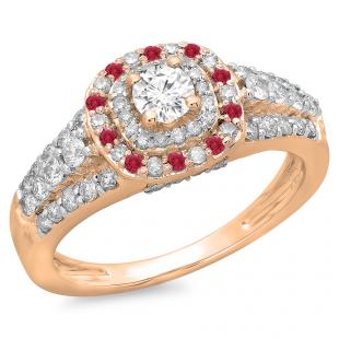 1.00 Carat (ctw) 18K Rose Gold Round Cut Ruby & White Diamond Ladies Vintage Style Bridal Halo Engagement Ring 1 CT