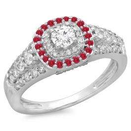 1.00 Carat (ctw) 10K White Gold Round Cut Ruby & White Diamond Ladies Vintage Style Bridal Halo Engagement Ring 1 CT