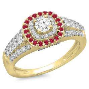 1.00 Carat (ctw) 10K Yellow Gold Round Cut Ruby & White Diamond Ladies Vintage Style Bridal Halo Engagement Ring 1 CT