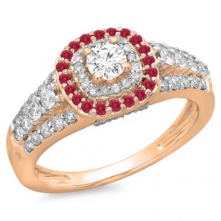 1.00 Carat (ctw) 14K Rose Gold Round Cut Ruby & White Diamond Ladies Vintage Style Bridal Halo Engagement Ring 1 CT