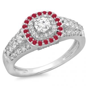 1.00 Carat (ctw) 18K White Gold Round Cut Ruby & White Diamond Ladies Vintage Style Bridal Halo Engagement Ring 1 CT