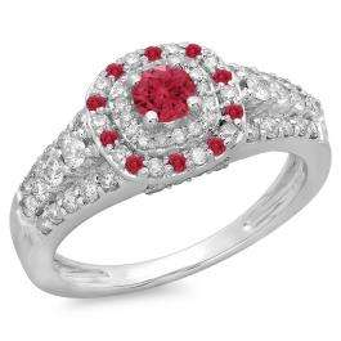 1.00 Carat (ctw) 14K White Gold Round Cut Ruby & White Diamond Ladies Vintage Style Bridal Halo Engagement Ring 1 CT