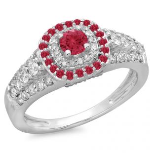 1.00 Carat (ctw) 10K White Gold Round Cut Ruby & White Diamond Ladies Vintage Style Bridal Halo Engagement Ring 1 CT