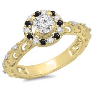 0.80 Carat (ctw) 18K Yellow Gold Round Cut Black & White Diamond Ladies Bridal Vintage Halo Style Engagement Ring 3/4 CT