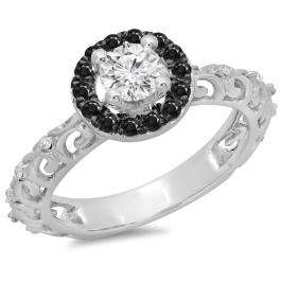 0.80 Carat (ctw) 14K White Gold Round Cut Black & White Diamond Ladies Bridal Vintage Halo Style Engagement Ring 3/4 CT