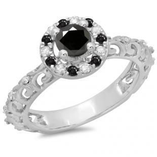 0.80 Carat (ctw) 10K White Gold Round Cut Black & White Diamond Ladies Bridal Vintage Halo Style Engagement Ring 3/4 CT