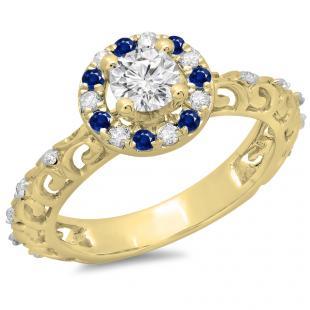 0.80 Carat (ctw) 10K Yellow Gold Round Cut Blue Sapphire & White Diamond Ladies Bridal Vintage Halo Style Engagement Ring 3/4 CT