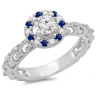 0.80 Carat (ctw) 18K White Gold Round Cut Blue Sapphire & White Diamond Ladies Bridal Vintage Halo Style Engagement Ring 3/4 CT