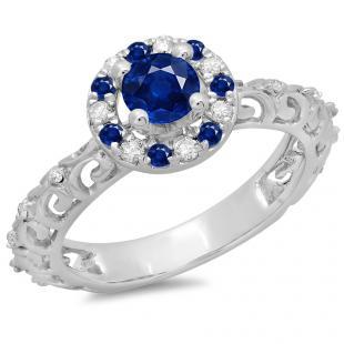 0.80 Carat (ctw) 14K White Gold Round Cut Blue Sapphire & White Diamond Ladies Bridal Vintage Halo Style Engagement Ring 3/4 CT
