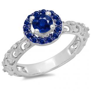0.80 Carat (ctw) 10K White Gold Round Cut Blue Sapphire & White Diamond Ladies Bridal Vintage Halo Style Engagement Ring 3/4 CT