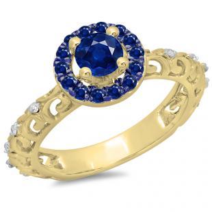 0.80 Carat (ctw) 18K Yellow Gold Round Cut Blue Sapphire & White Diamond Ladies Bridal Vintage Halo Style Engagement Ring 3/4 CT