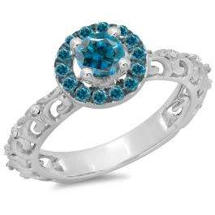 0.80 Carat (ctw) 10K White Gold Round Cut Blue & White Diamond Ladies Bridal Vintage Halo Style Engagement Ring 3/4 CT