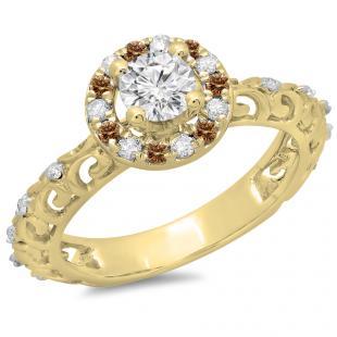 0.80 Carat (ctw) 18K Yellow Gold Round Cut Champagne & White Diamond Ladies Bridal Vintage Halo Style Engagement Ring 3/4 CT