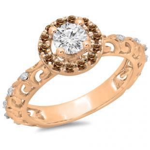 0.80 Carat (ctw) 18K Rose Gold Round Cut Champagne & White Diamond Ladies Bridal Vintage Halo Style Engagement Ring 3/4 CT