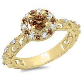 0.80 Carat (ctw) 10K Yellow Gold Round Cut Champagne & White Diamond Ladies Bridal Vintage Halo Style Engagement Ring 3/4 CT