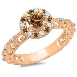 0.80 Carat (ctw) 18K Rose Gold Round Cut Champagne & White Diamond Ladies Bridal Vintage Halo Style Engagement Ring 3/4 CT