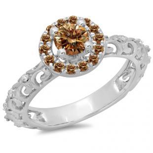 0.80 Carat (ctw) 10K White Gold Round Cut Champagne & White Diamond Ladies Bridal Vintage Halo Style Engagement Ring 3/4 CT