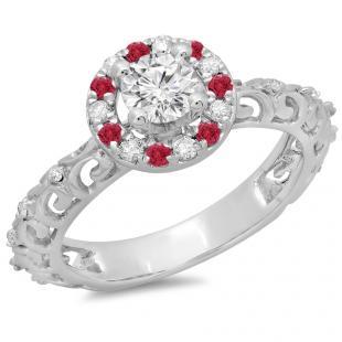 0.80 Carat (ctw) 14K White Gold Round Cut Ruby & White Diamond Ladies Bridal Vintage Halo Style Engagement Ring 3/4 CT