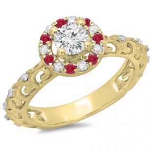 0.80 Carat (ctw) 14K Yellow Gold Round Cut Ruby & White Diamond Ladies Bridal Vintage Halo Style Engagement Ring 3/4 CT
