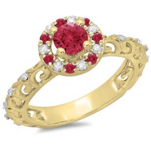 0.80 Carat (ctw) 18K Yellow Gold Round Cut Ruby & White Diamond Ladies Bridal Vintage Halo Style Engagement Ring 3/4 CT