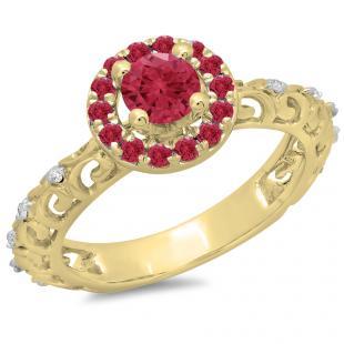 0.80 Carat (ctw) 10K Yellow Gold Round Cut Ruby & White Diamond Ladies Bridal Vintage Halo Style Engagement Ring 3/4 CT