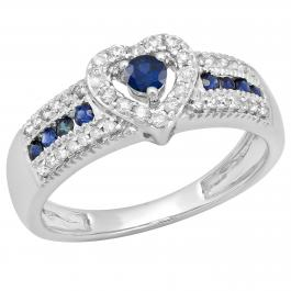 0.55 Carat (ctw) 14K White Gold Round Cut Blue Sapphire & White Diamond Ladies Bridal Heart Shaped Promise Engagement Ring 1/2 CT