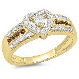 0.55 Carat (ctw) 10K Yellow Gold Round Cut Champagne & White Diamond Ladies Bridal Heart Shaped Promise Engagement Ring 1/2 CT