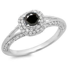 0.90 Carat (ctw) 10K White Gold Round Cut Black & White Diamond Ladies Bridal Split Shank Halo Style Engagement Ring