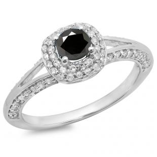 0.90 Carat (ctw) 14K White Gold Round Cut Black & White Diamond Ladies Bridal Split Shank Halo Style Engagement Ring