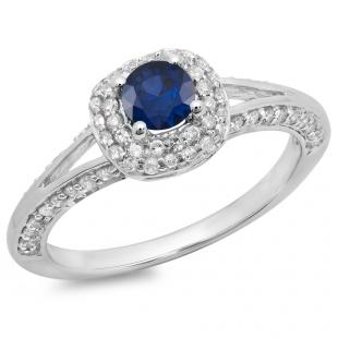 0.90 Carat (ctw) 10K White Gold Round Cut Blue Sapphire & White Diamond Ladies Bridal Split Shank Halo Style Engagement Ring